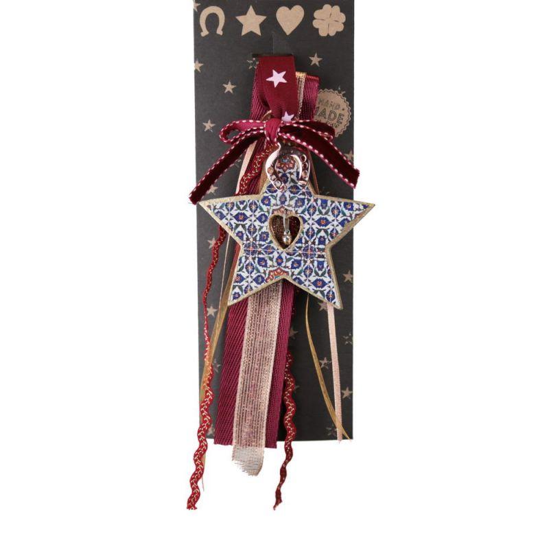 Γούρι ξύλινο Αστέρι με κουδουνάκι-Κλειδί 33εκ.