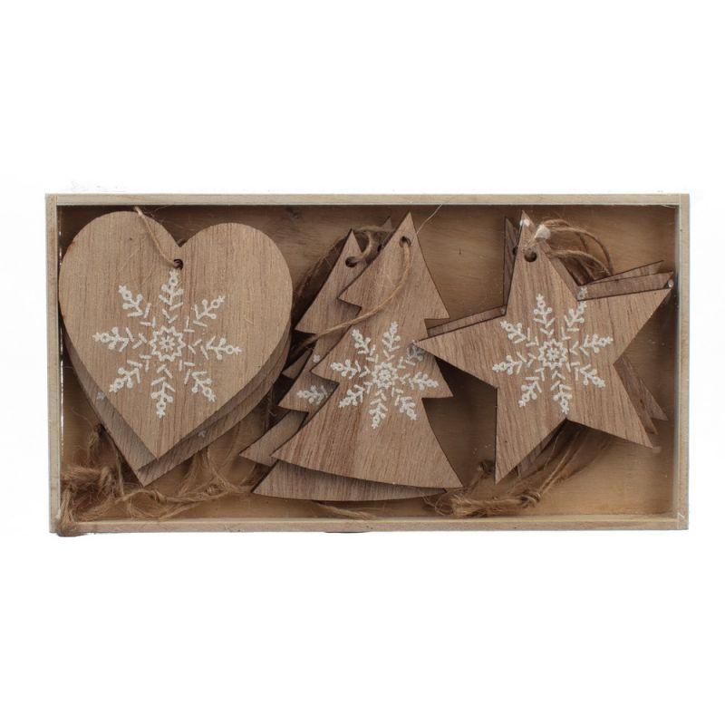 Κουτί με 9 στολίδια ξύλινα με νιφάδες 6,5εκ.