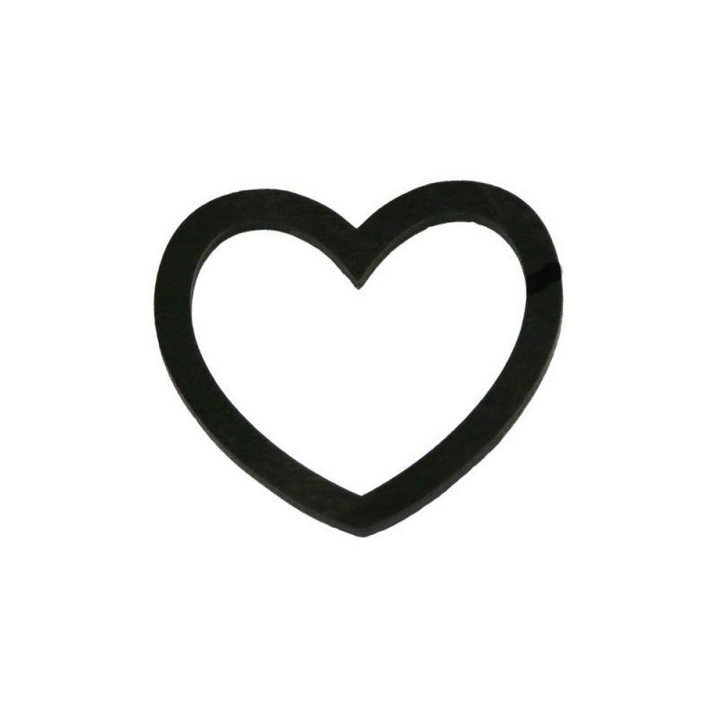 Καρδιά ξύλινη περίγραμμα - Μαύρη 5,5εκ.