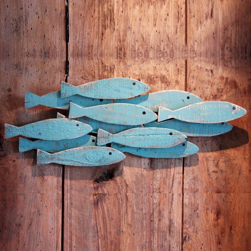 Σύνθεση ξύλ.ψάρια 60εκ. - Τυρκουάζ