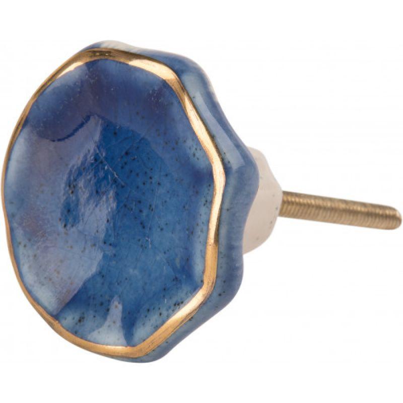 Πόμολο μπλε λουλούδι 4,5εκ. χρυσή ρίγα