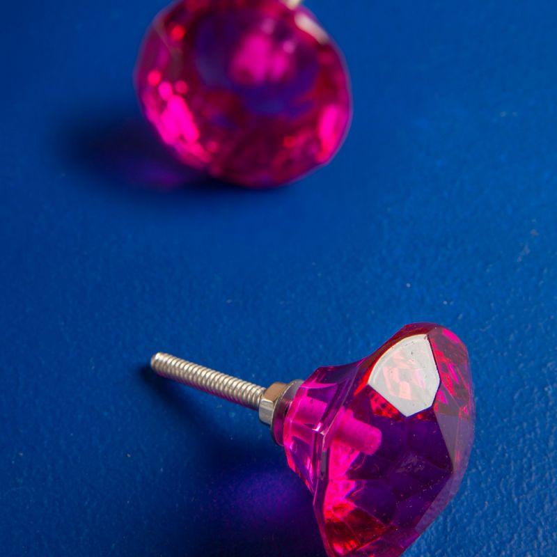 Πόμολο γυάλινο πετράδι - Ροζ
