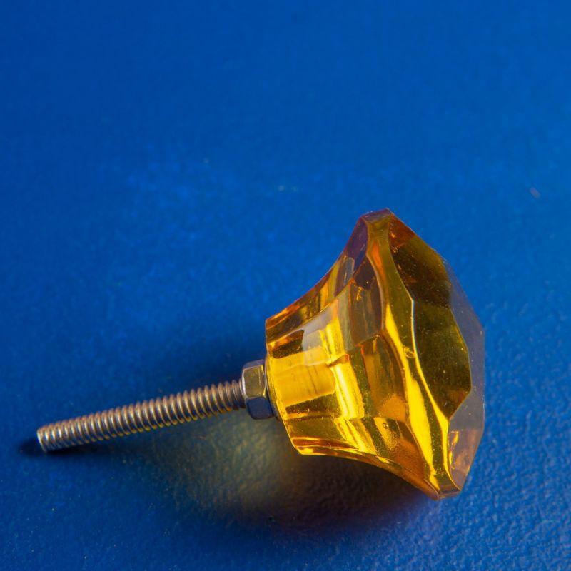 Πόμολο γυάλινο πετράδι - Κίτρινο