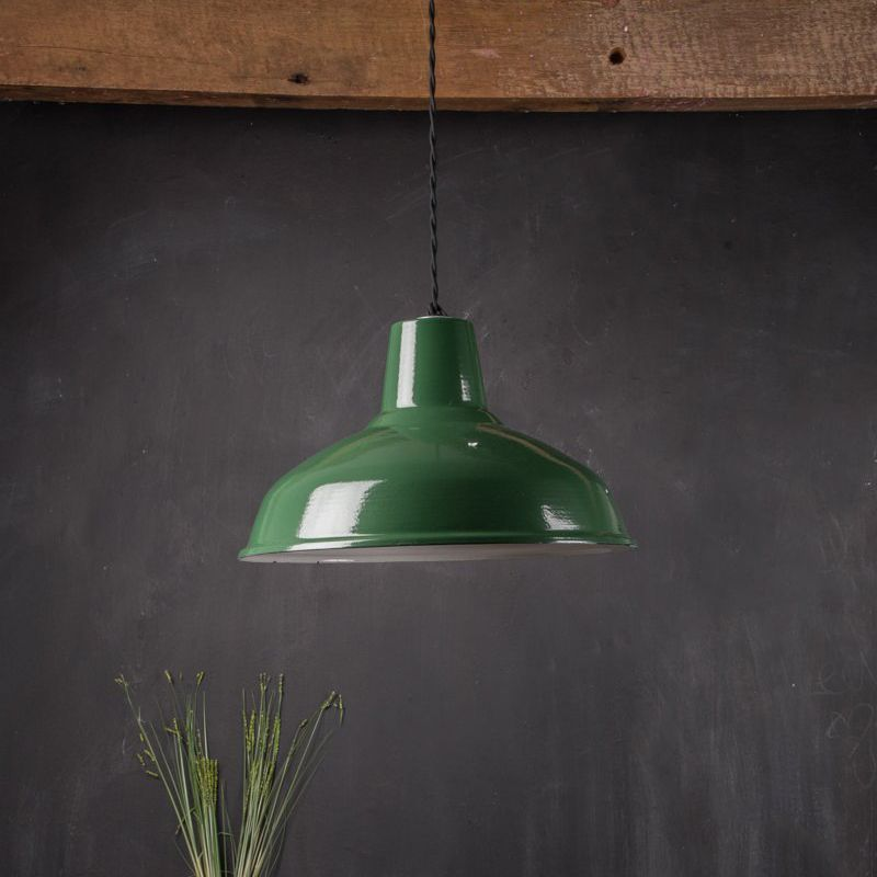 Large green enamelled lampshade Dia:36cm