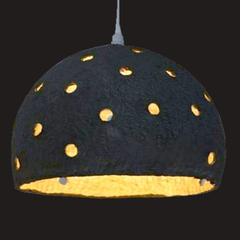 Φωτιστικό Βαμβακερό με τρύπες 34εκ. - Μαύρο Χρυσό