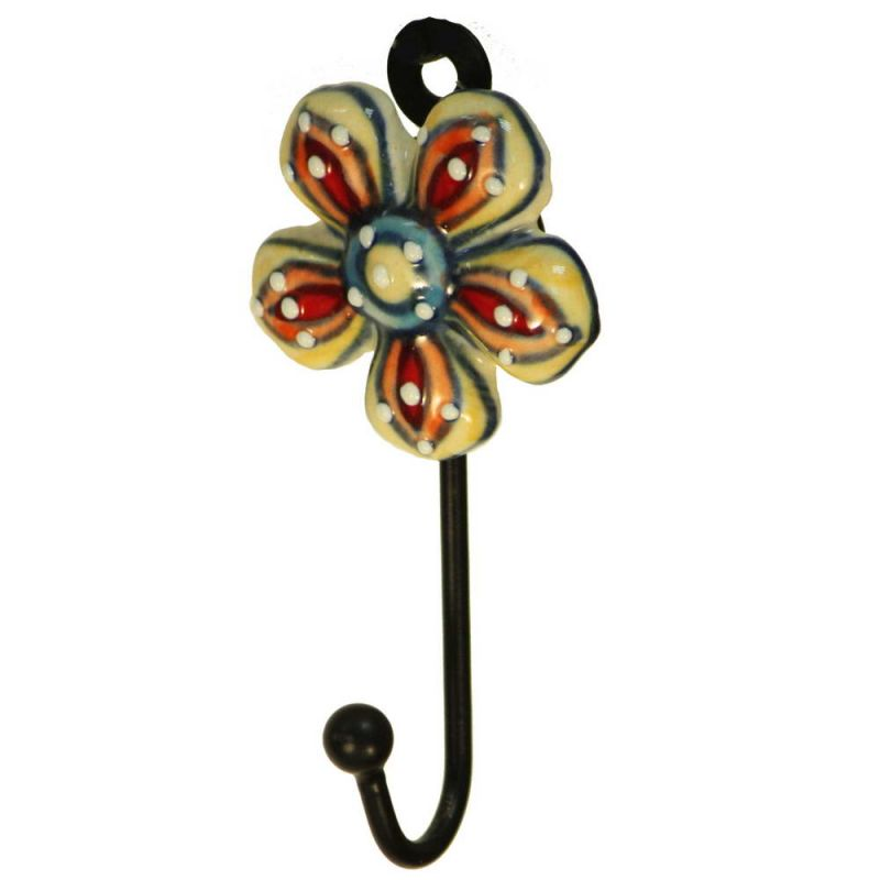 Γάντζος κεραμικό λουλούδι 12εκ. ζωγραφισμένο