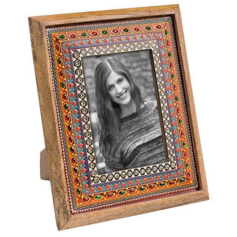 Κορνίζα ζωγραφισμένη Ινδική 24x29εκ. ξύλινη