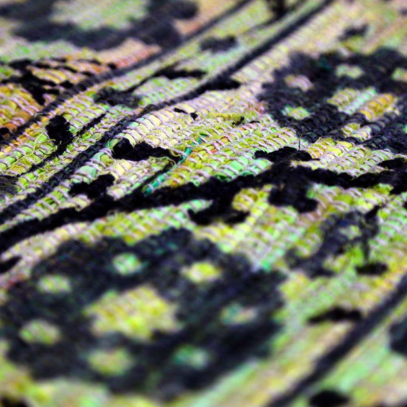 Χαλί 120x180 κουρελού πράσινα λουλούδια