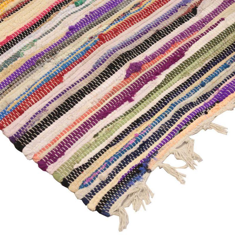 Multi colour cotton rag rug, 75 x 120cm