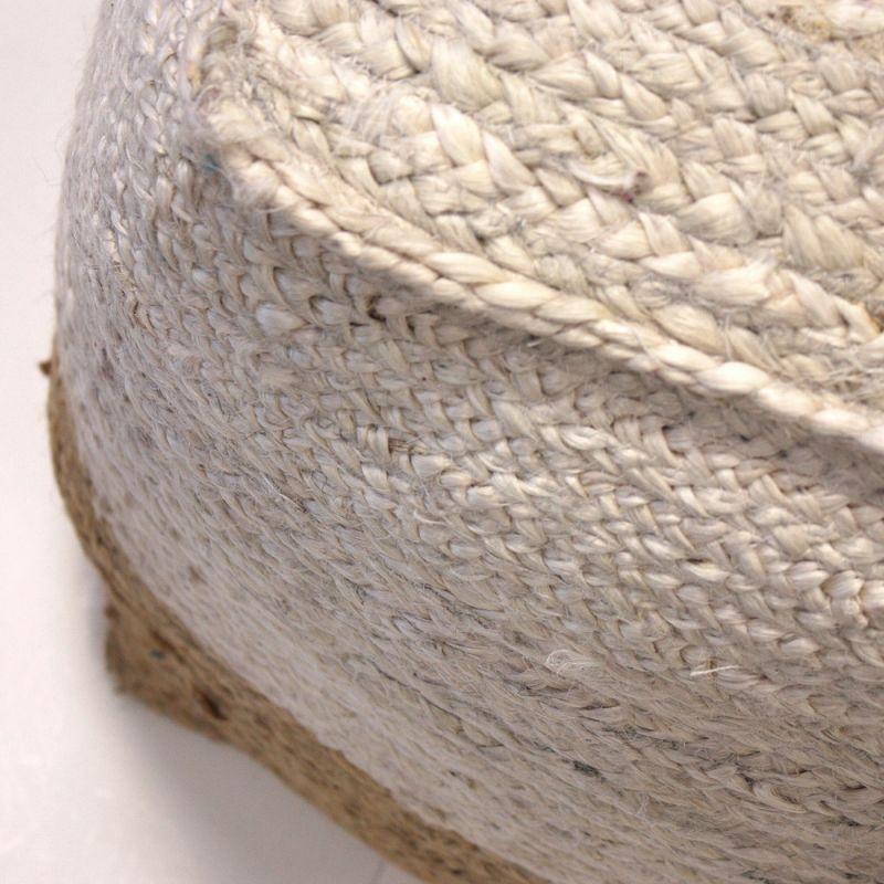 Πουφ από γιούτα κύβος με λευκό 45x45x45 - Βαμβακερό γέμισμα