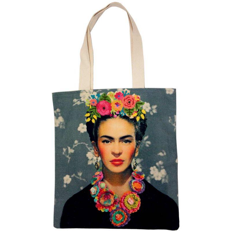 Τσάντα Frida Κahlo γκρι κεντημένη