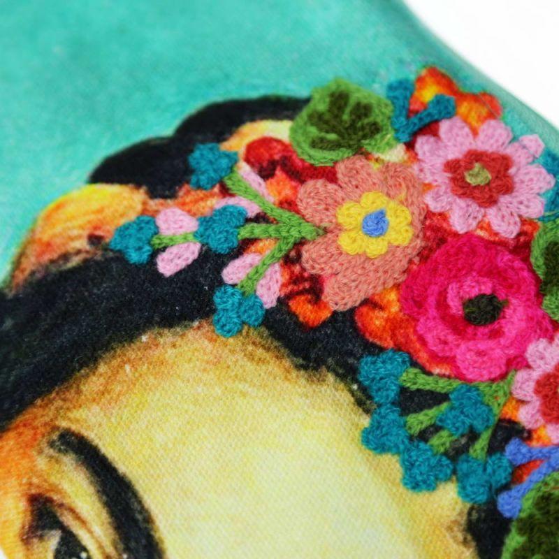 Νεσεσέρ Frida Τυρκουάζ 23x13εκ. Κεντημένο βαμβακερό